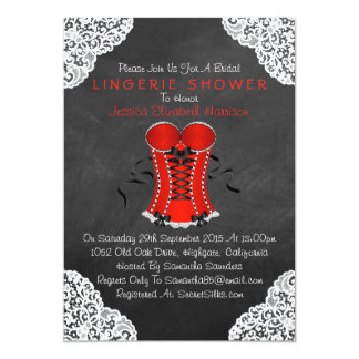 "Red Corset White Lace Chalkboard Lingerie Shower 5"" X 7"" Invitation Card"