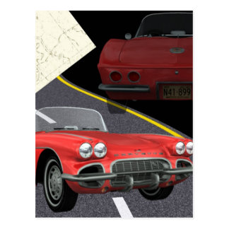Red Corvette - Car/Father's Day Design Postcard