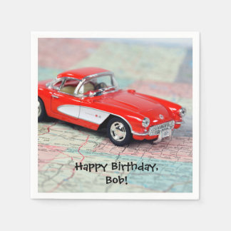 red corvette sports car on road map-Birthday Disposable Napkin