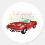 Red Corvette Stingray or Sting Ray sports car Round Sticker