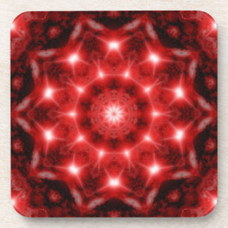 Red Cosmos Mandala Coaster