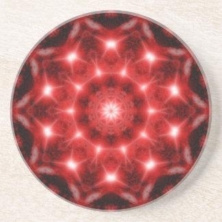 Red Cosmos Mandala Coaster