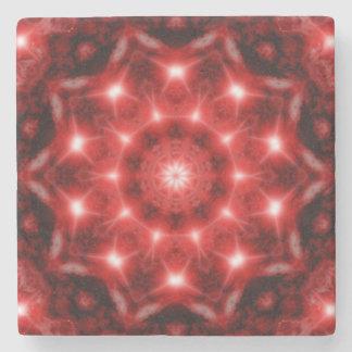 Red Cosmos Mandala Stone Coaster