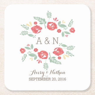 Red Country Floral Monogram Paper Coasters