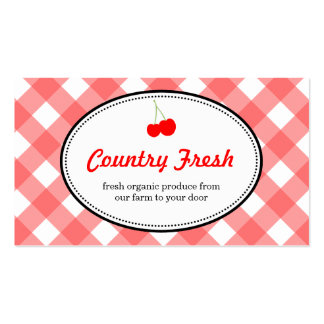 Red country gingham pattern sweet cherry produce pack of standard business cards