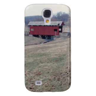 Red Covered Bridge Samsung Galaxy S4 Cases
