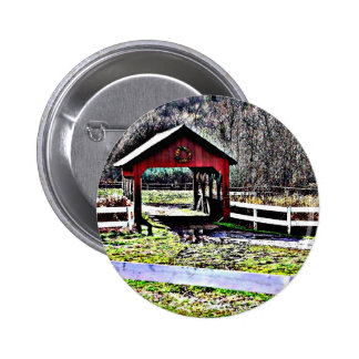 Red Covered Bridge Landscape Buttons