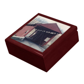 Red Covered Bridge Large Square Gift Box