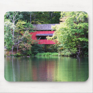 Red Covered Bridge Over Lake Mousepad