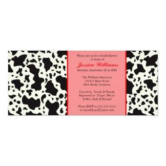 Red Cow Print Bridal Shower 10 Cm X 24 Cm Invitation Card