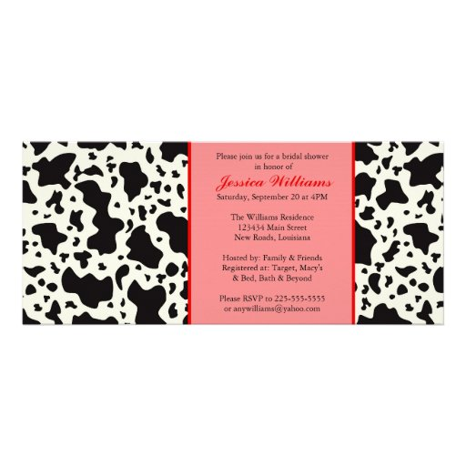 Red Cow Print Bridal Shower Personalized Announcement