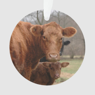 red cow with her Calf Ornament