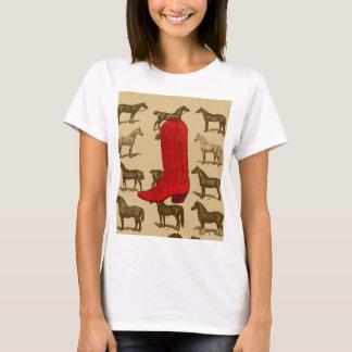 Red Cowboy Boot Horses Shirt