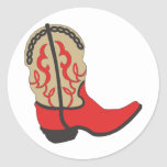 Red Cowboy Boot Round Sticker