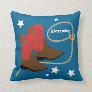 Red Cowboy Boots & Rope, Personalized Throw Pillow