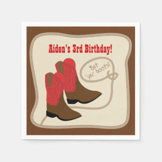Red Cowboy Boots Western Birthday Party Paper Napkins