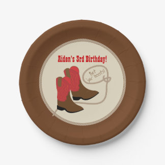 Red Cowboy Boots Western Birthday Party Paper Plate
