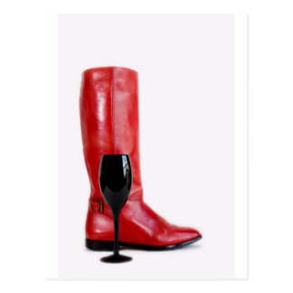 Red Cowgirl Boot Western Wineglass Wine Postcard