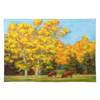 Red Cows and Yellow Fall 1 Sided Cotton Placemat