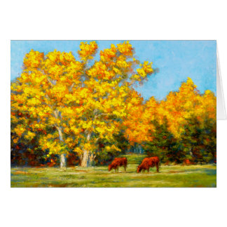Red Cows under Yellow Fall Trees Greeting Cards