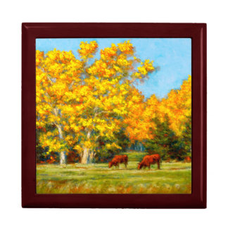 Red Cows under Yellow Fall Trees Keepsake Box