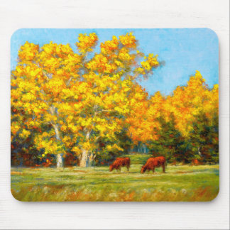Red Cows under Yellow Fall Trees Mousepad