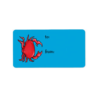 Red Crab blue Gift Tag Address Label