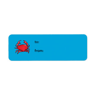 Red Crab blue small Gift Tag Return Address Label
