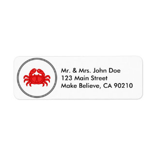 Red Crab - Fish Prawn Crab Collection Return Address Label