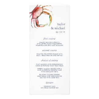 Red Crab | Nautical Wedding Menu Card
