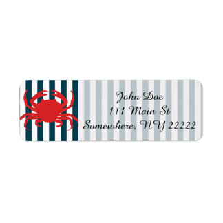 Red Crab on Nautical Stripes Return Address Label