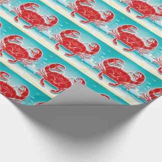 Red Crab on the Beach with Blue Sea Wrapping Paper