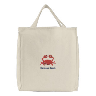 Red Crab Personalized Beach Embroidered Tote Bag