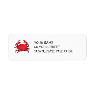 Red Crab Return Address Label