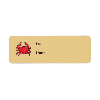 Red Crab sand small Gift Tag Return Address Label