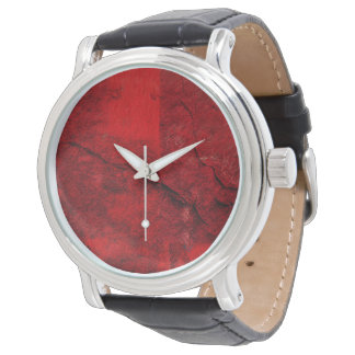 Red Cracked Texture Abstract Wall Watch