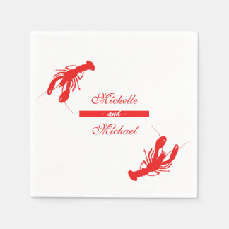 Red Crawfish Lobster Cocktail Napkins Disposable Serviettes