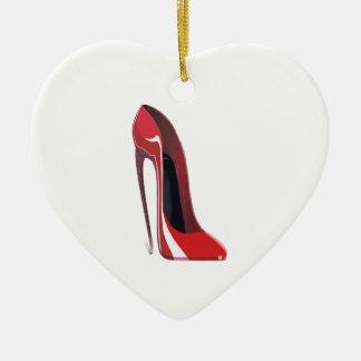 Red Crazy Heel Stiletto Shoe Art Ceramic Heart Decoration