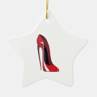 Red Crazy Heel Stiletto Shoe Art Ceramic Star Decoration