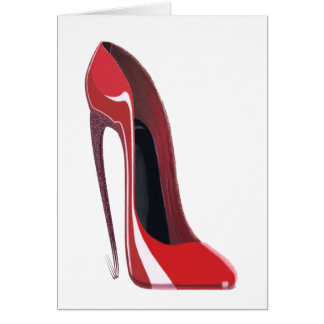 Red Crazy Heel Stiletto Shoe Art Greeting Card