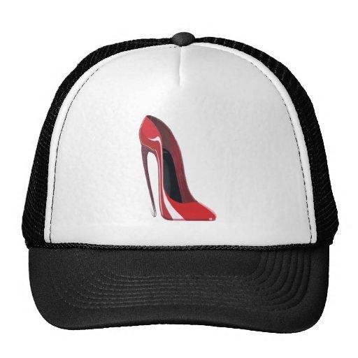Red Crazy Heel Stiletto Shoe Art Mesh Hat