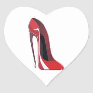Red Crazy Heel Stiletto Shoe Art Heart Sticker