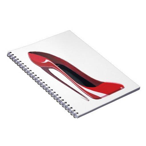 Red Crazy Heel Stiletto Shoe Art Spiral Notebooks