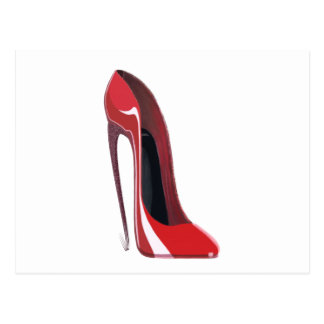 Red Crazy Heel Stiletto Shoe Art Postcard