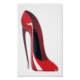 Red Crazy Heel Stiletto Shoe Art Poster