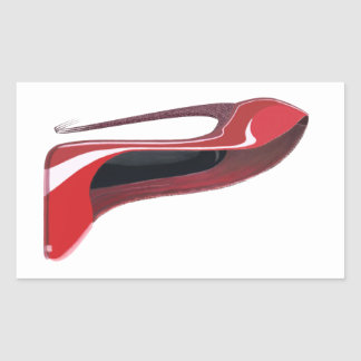 Red Crazy Heel Stiletto Shoe Art Rectangular Sticker