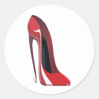 Red Crazy Heel Stiletto Shoe Art Round Sticker