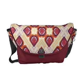 Red, Cream And Brown Mosaic Pattern Courier Bags