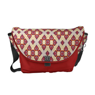 Red, Cream And Brown Mosaic Pattern Messenger Bags