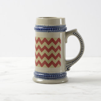 Red Cream Fabric Zigzag Chevron Pattern Elegant Mug